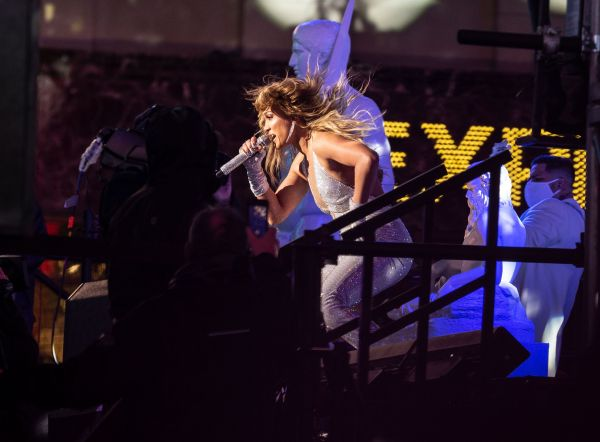 Jennifer Lopez Performs on stage during 2021 New Year celebration