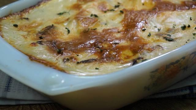 طريقة عمل جراتان البطاطس بالدجاج و المشروم