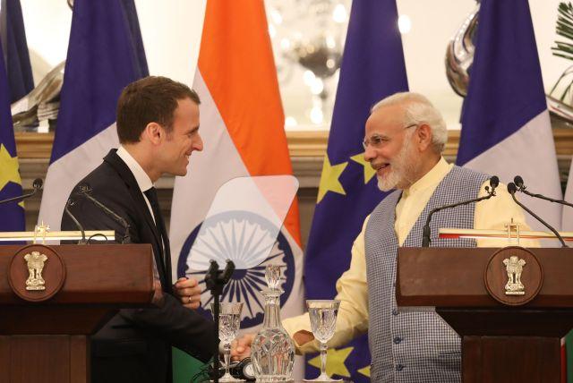 ماكرون ورئيس وزراء الهند