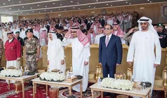 الرئيس السيسى والملك سلمان والقادة العرب خلال تدريب درع الخليج