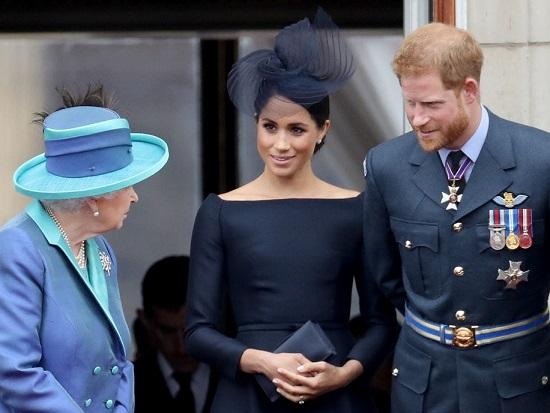 Image compilation of Megan, Harry and Queen Elizabeth