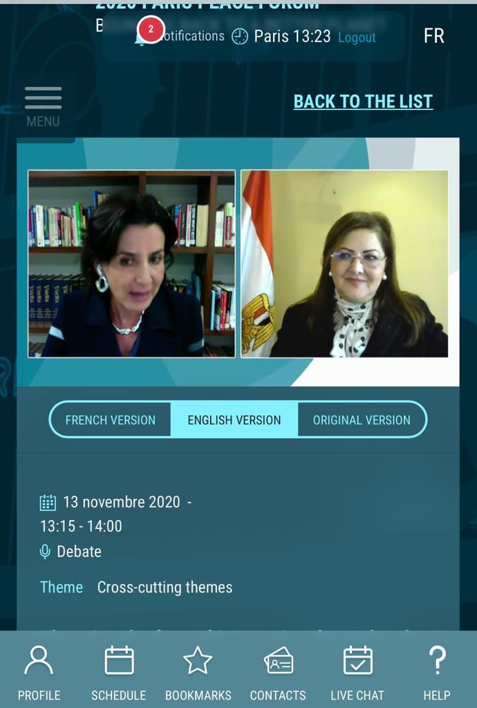 وزيرة التخطيط خلال مشاركتها عبر كونفرانس