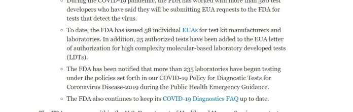Text from FDA test clearance