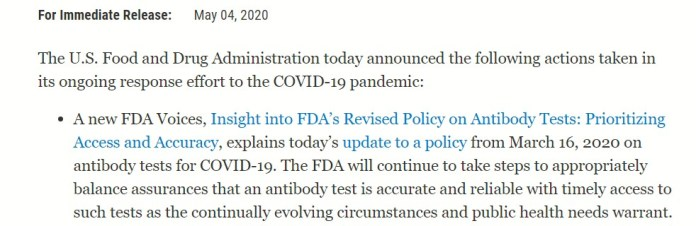 US Food and Drug Administration statement