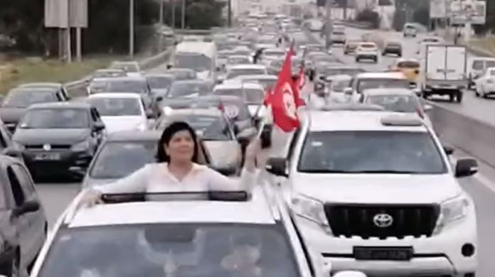 Abeer Musa driving a car rally 2