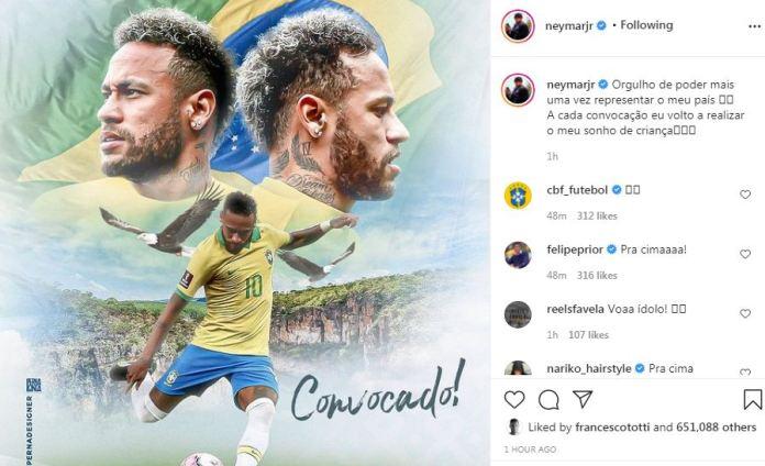 Neymar on Instagram