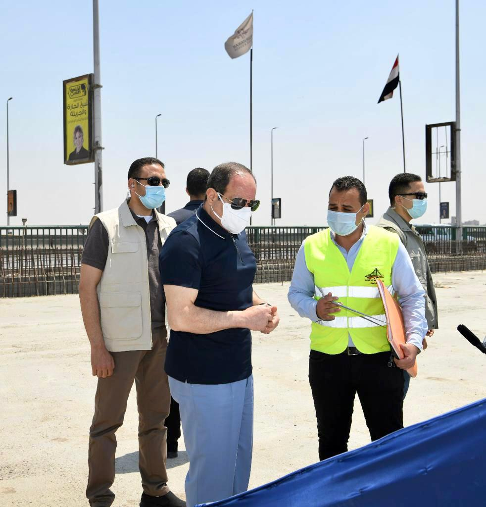 الرئيس السيسى يتفقد أعمال التطوير والصيانة للطريق الدائري (6)