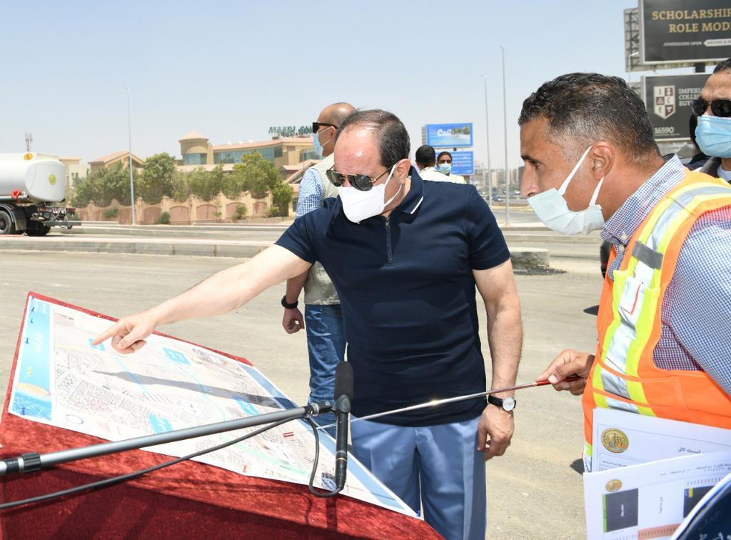الرئيس السيسى يتفقد أعمال التطوير والصيانة للطريق الدائري (7)