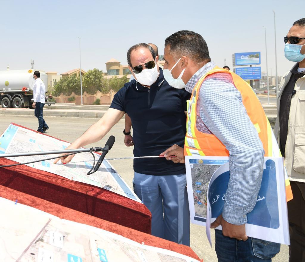 الرئيس السيسى يتفقد أعمال التطوير والصيانة للطريق الدائري (5)