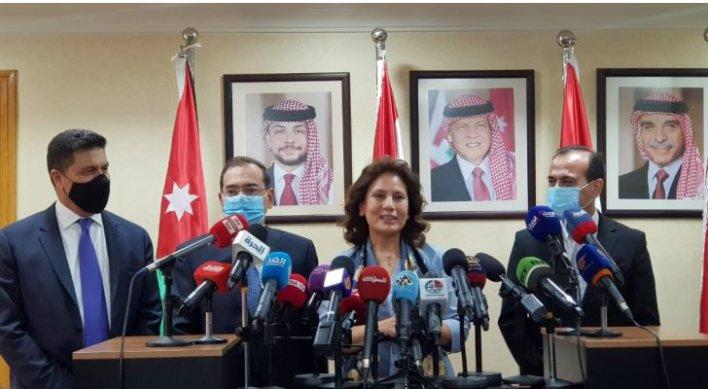وزراء البترول والطاقة في مصر والاردن وسوريا ولبنان خلال المؤتمر الصحفي