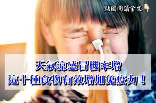 天氣涼感冒的機率大增,這十種食物有效增加免疫力!-台灣養生網