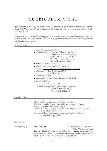 assistant curriculum vitae ucl