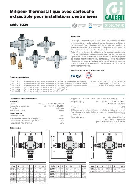 https www yumpu com fr document view 15950220 mitigeur thermostatique avec cartouche extractible pour caleffi