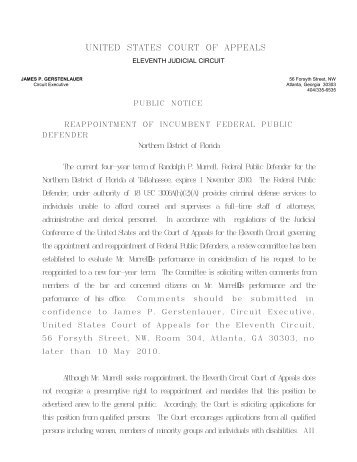 Reassigment of Civil Cases - the Northern District of Florida