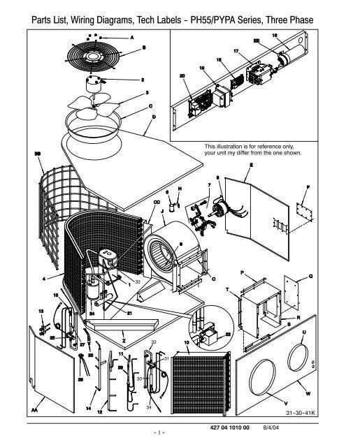 parts list wiring diagrams tech labels  ph55/pypa series