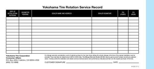 yokohama tire rotation service record