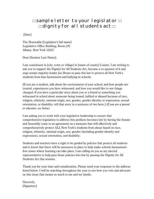 Sample Letter To Your Legislator