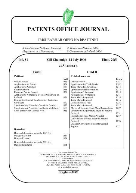 Gratis e senza app aggiuntive   vita su. Patents Office Journal Irish Patents Office