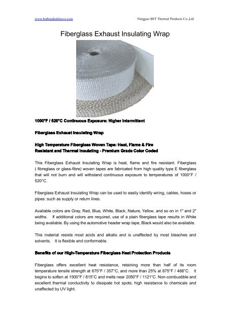 fiberglass exhaust insulating wrap