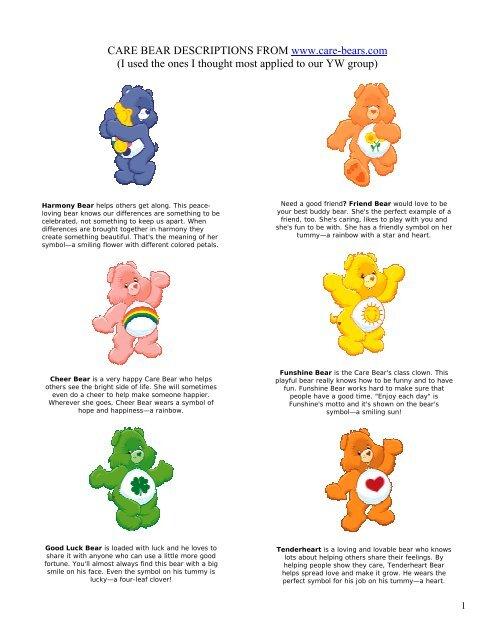 Care Bear Descriptions From Www Care Sugardoodle Net