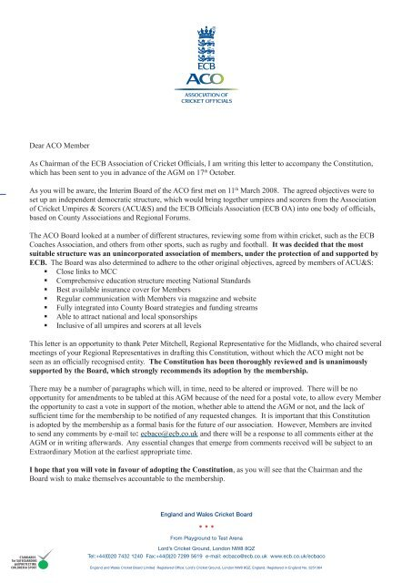 Ecb Aco Constitution Letter Ecb England And Wales Cricket Board