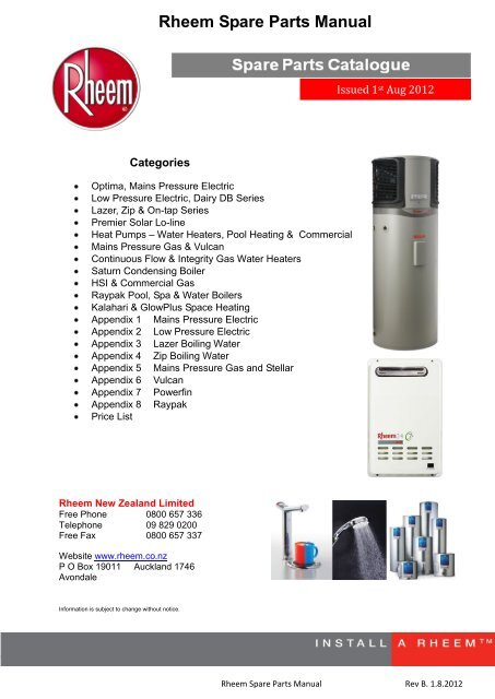 download entire rheem spare parts manual  rheem new zealand