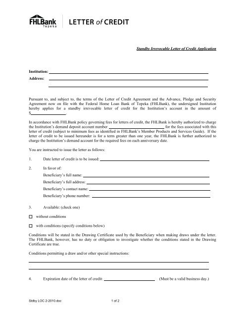 Standby Irrevocable Letter Of Credit