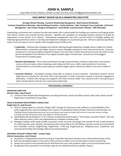 Executive Managing Director Resume Pdf