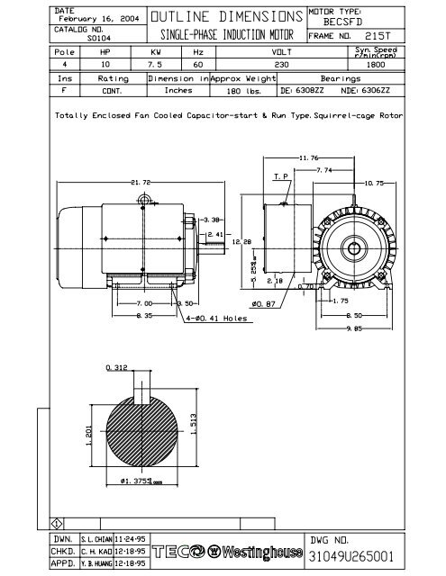 ols0104 model 1  tecowestinghouse motor company