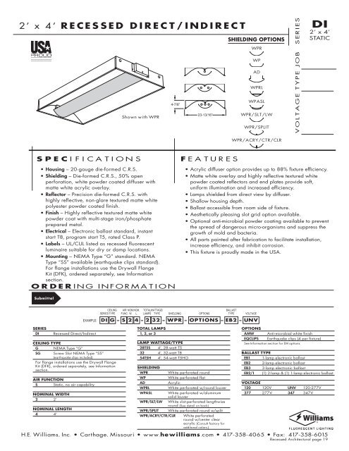 2 x 4 recessed direct indirect