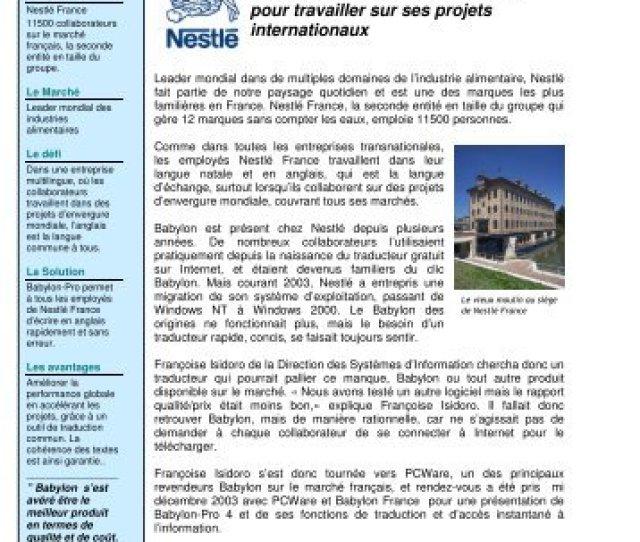 Nestle France Utilise Babylon Pro Pour Travailler Sur Ses Projets