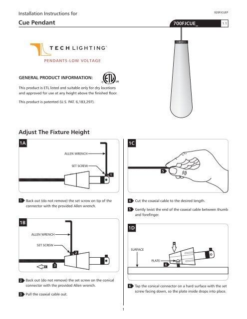 920fjcuep cue pendant tech lighting