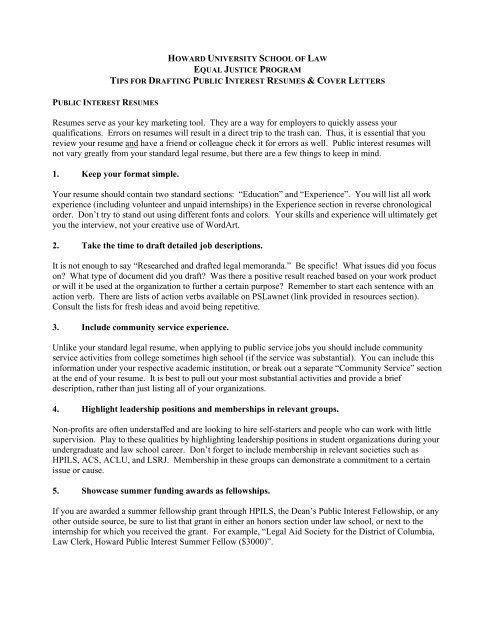 Public Interest Resume And Cover Letter Tips Howard University