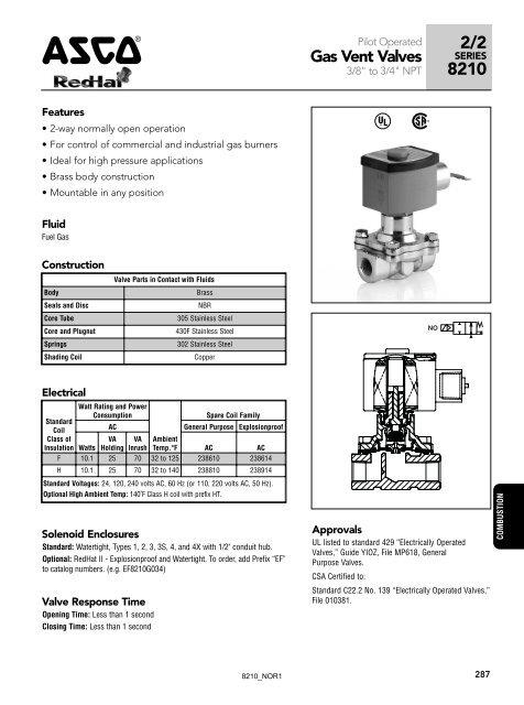 8210 series  asco valve inc