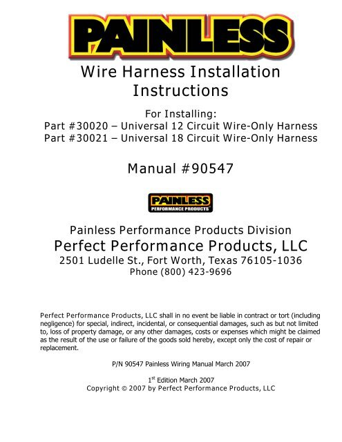 wire harness installation instructions  painless wiring