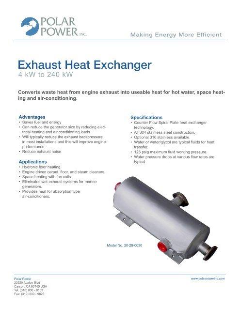 exhaust heat exchanger polar power inc
