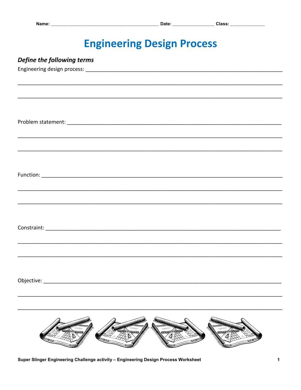 W Ksheets Eng Eer G Design Process W Ksheet