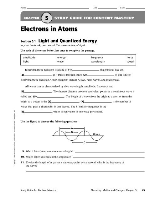 5 1 Light And Quantized Energy Worksheet Answers ...