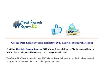 The emerging market for pico-scale solar PV systems in Sub ...