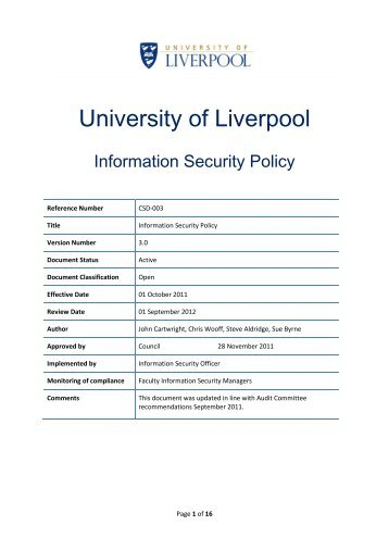 University Security Policy
