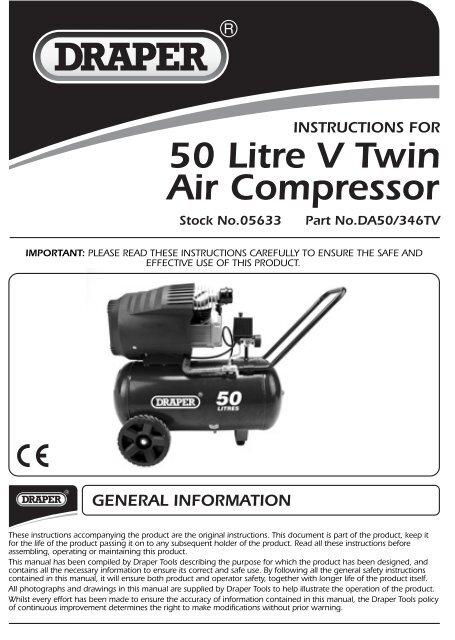 50 Litre V Twin Air Compressor Dr