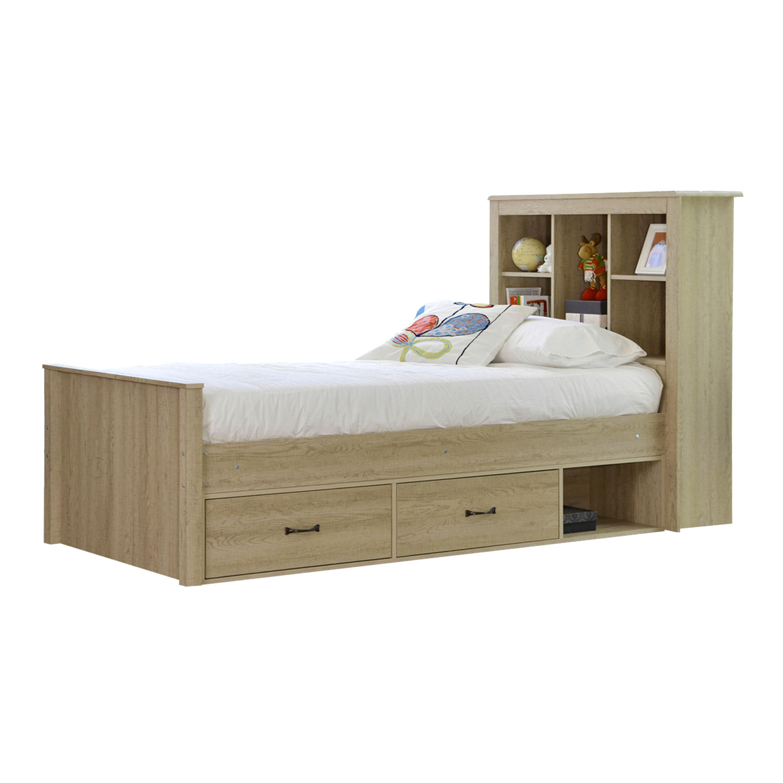 Jeppe Oak King Single Bed With Bookshelves Drawers