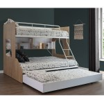 Vic Furniture White Single Over Double Trio Bunk Bed With Shelves Trundle Reviews Temple Webster