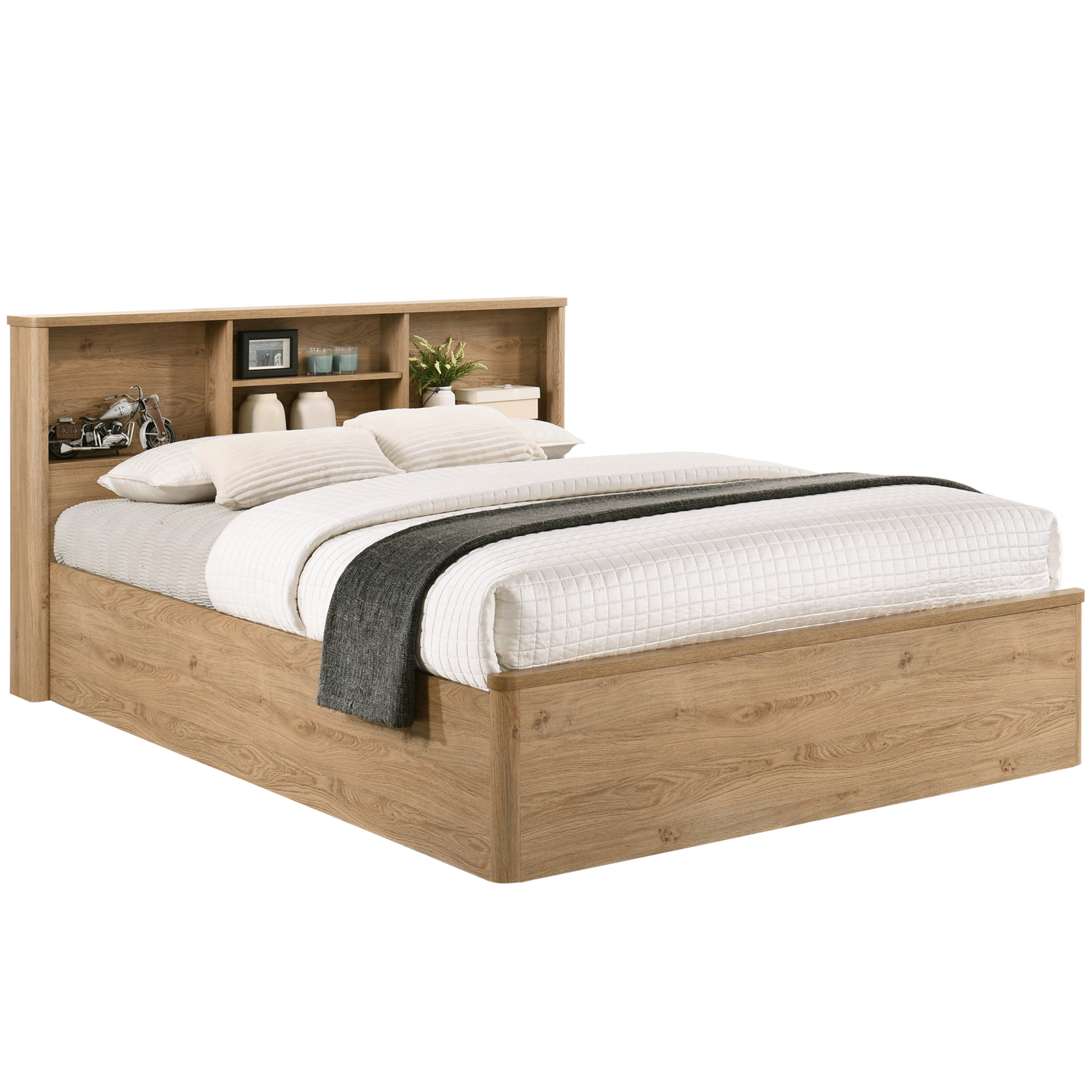 Natural Anderson Queen Bed With Bookcase Headboard