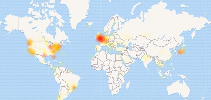 Красным и желтым отмечены территории, откуда поступают жалобы на технические неполадки