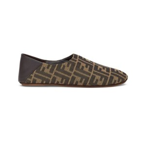 Brown fabric slippers