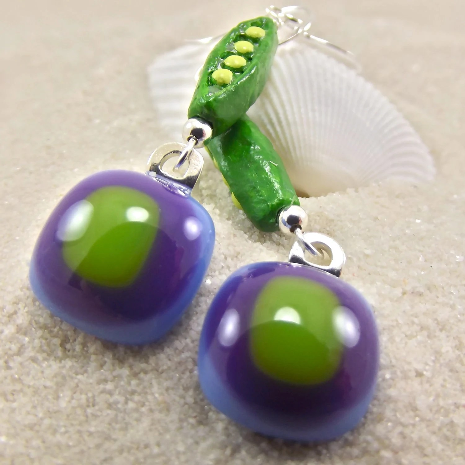 Sugarsnap Peri Fused Glass Earrings