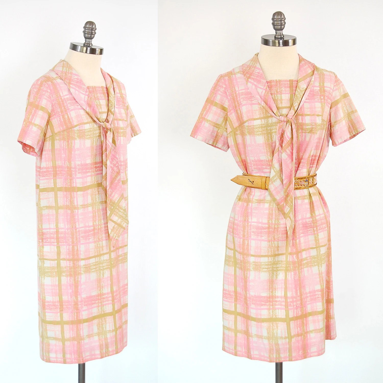 Vintage 60s pink plaid shift dress