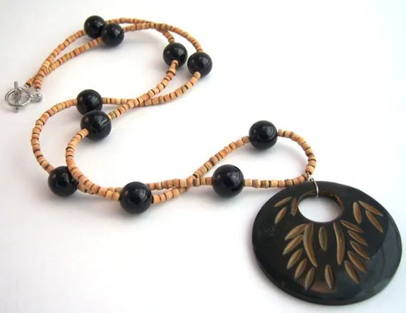 Black and brown buffalo horn necklace