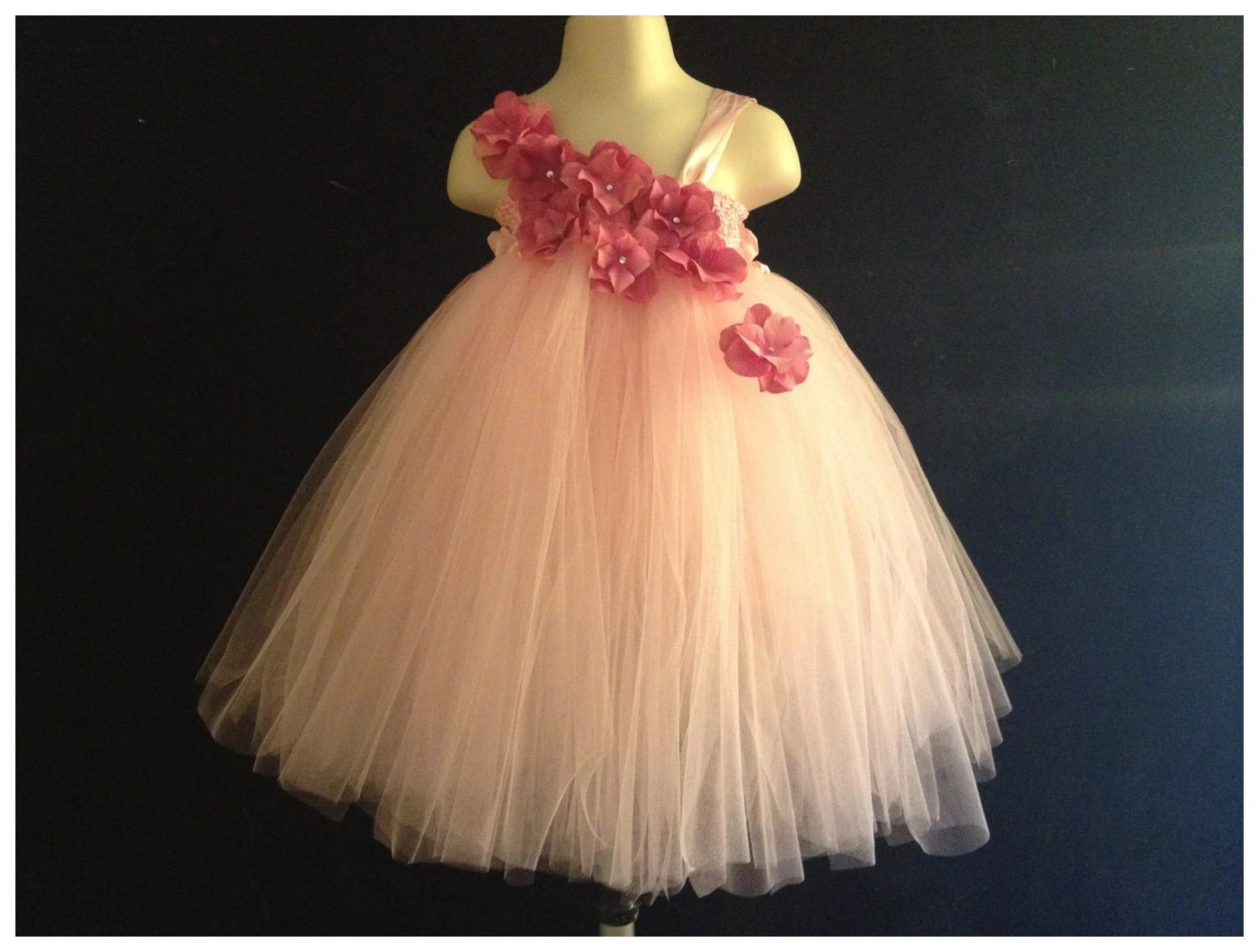 Pink hydrangea tutu dress infant 6M 12M 18M and Toddler 2T 3T 4T Tutu Dress Flower girl Pagent Birthday Photos